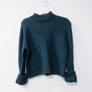 TOPSHOP Chunky Ribbed Fuzzy Green Sweater Size 8